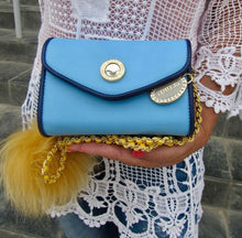 Load image into Gallery viewer, SCORE! Eva Designer Crossbody Clutch - Light Blue, Navy Blue and Gold Yellow