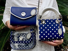 Load image into Gallery viewer, SCORE! Eva Designer Crossbody Clutch - Navy Blue and White