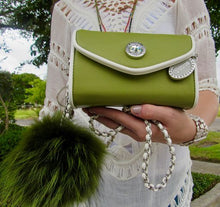 Load image into Gallery viewer, SCORE! Eva Designer Crossbody Clutch - Olive Green and White