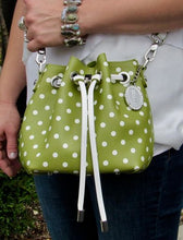 Load image into Gallery viewer, SCORE! Sarah Jean Small Crossbody Polka dot BoHo Bucket Bag - Olive Green and White