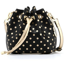 Load image into Gallery viewer, SCORE! Sarah Jean Small Crossbody Polka dot BoHo Bucket Bag - Black and Gold Gold Boston Bruins, Anaheim Ducks, Las Vegas Knights, Iowa Barnstormers, Kappa Alpha Theta,