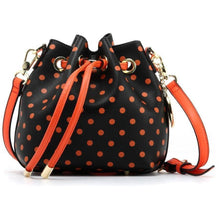 Load image into Gallery viewer, SCORE! Sarah Jean Small Crossbody Polka dot BoHo Bucket Bag - Black and Orange Oregon State University Beavers, Oklahoma State University Cowboys Pistol Pete, West Virginia Wesleyan College Bobcats, 