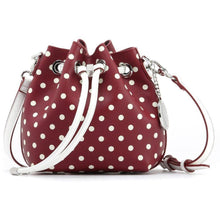 Load image into Gallery viewer, SCORE! Sarah Jean Small Crossbody Polka dot BoHo Bucket Bag- Maroon Crimson and White