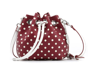 SCORE! Sarah Jean Small Crossbody Polka dot BoHo Bucket Bag- Maroon Crimson and White