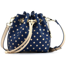 Load image into Gallery viewer, SCORE! Sarah Jean Small Crossbody Polka dot BoHo Bucket Bag - Blue & Gold  Dartmouth Corsairs, 