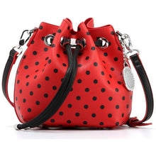 Load image into Gallery viewer, SCORE! Sarah Jean Small Crossbody Polka dot BoHo Bucket Bag - Red and Black Texas Tech Red Raiders, University of Georgia Bulldogs, Northern Illinois Huskies, North Carolina State Wolfpack, 
