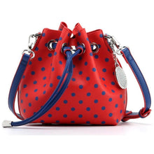 Load image into Gallery viewer, SCORE! Sarah Jean Small Crossbody Polka dot BoHo Bucket Bag - Red and Blue Fresno State Bulldogs, University of Kansas KU Jayhawks, University of Mississippi Ole Miss Rebels, Southern Methodist University SMU Mustangs, Samford University Bulldogs, 