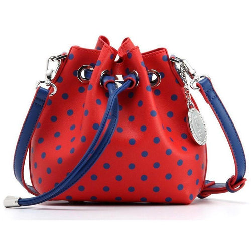 SCORE! Sarah Jean Small Crossbody Polka dot BoHo Bucket Bag - Red and Blue Fresno State Bulldogs, University of Kansas KU Jayhawks, University of Mississippi Ole Miss Rebels, Southern Methodist University SMU Mustangs, Samford University Bulldogs, 
