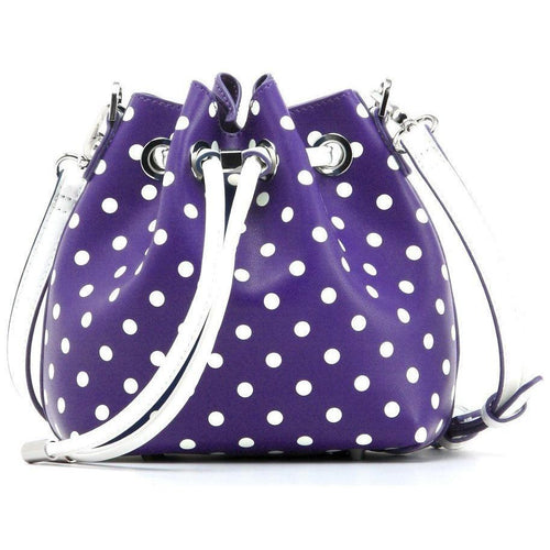 SCORE! Sarah Jean Small Crossbody Polka dot BoHo Bucket Bag - Purple and White Kansas State University Wildcats Willies KSU, Texas Christian University TCU Horned Frogs, Northwestern University Wildcats, Weber State University Wildcats