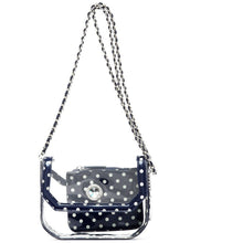 Load image into Gallery viewer, SCORE! Chrissy Small Designer Clear Crossbody Bag - Navy Blue and White