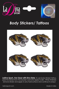 University of Missouri Mizzou Tigers Black and Gold Logo~Body, Face and Purse Sticker Tattoos