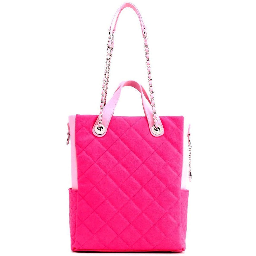 SCORE!'s Kat Travel Tote for Business, Work, or School Quilted Shoulder Bag-  Hot Pink and Light Pink