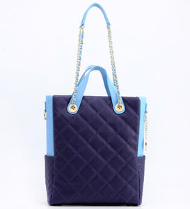 SCORE!'s Kat Travel Tote for Business, Work, or School Quilted Shoulder Bag- Navy Dark Blue and Light Blue