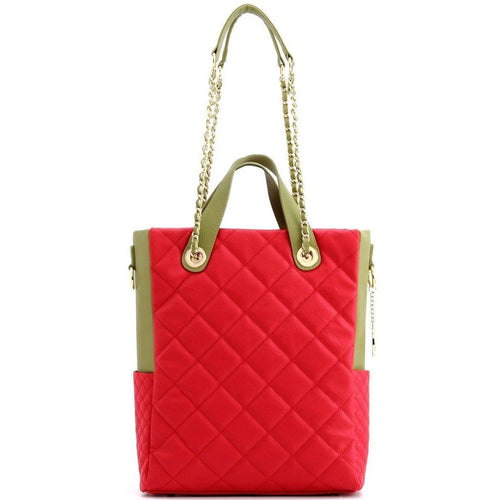 SCORE!'s Kat Travel Tote for Business, Work, or School Quilted Shoulder Bag - Red and Olive Green