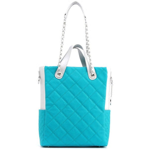 SCORE!'s Kat Travel Tote for Business, Work, or School Quilted Shoulder Bag- Turquoise and Silver