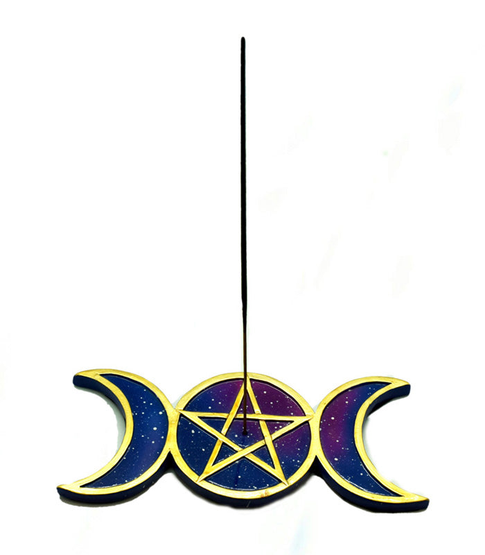 Incense Burner Triple Moon with Pentagram