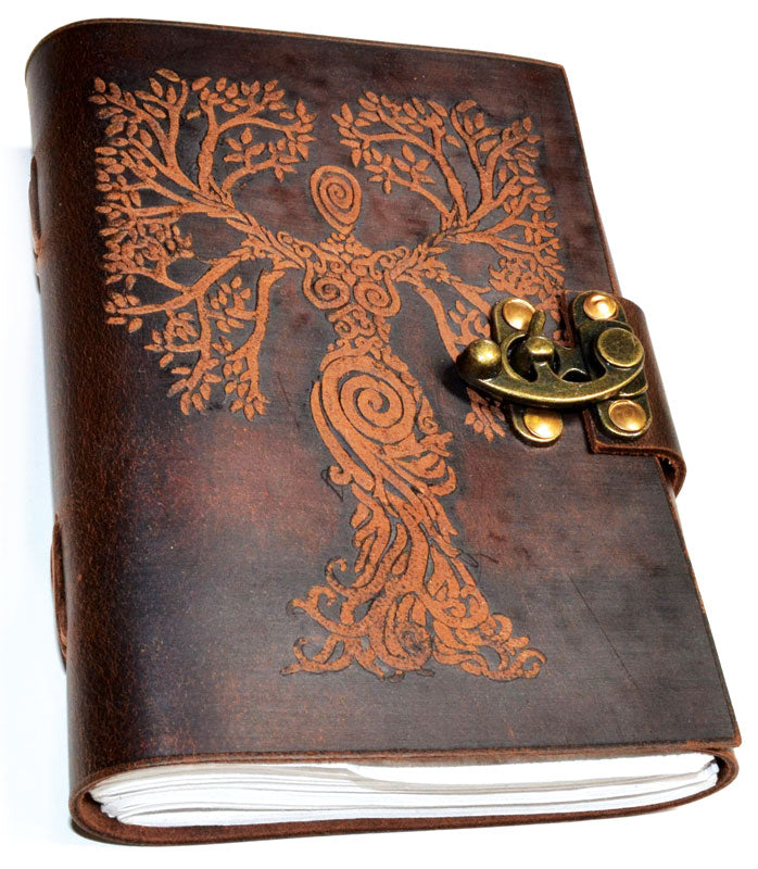 Tree of Life Woman Leather Journal with latch