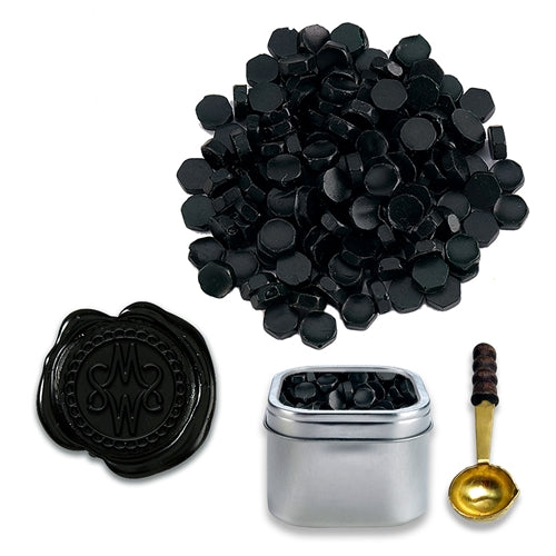Black Sealing Wax Beads in Tin with Spoon