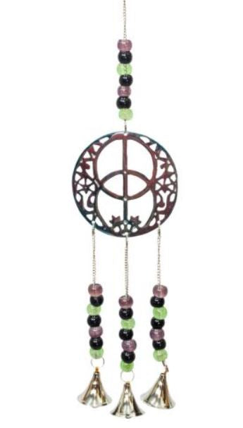 Brass Bell Windchime - Chalice Well with Beads