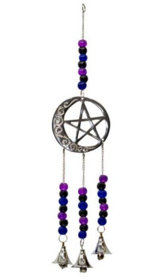 Brass Bell Windchime - Pentacle & Moon with Beads
