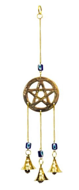 Brass 3 Bell Windchime - Pentacle with Evil Eye Beads