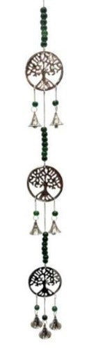 Brass Bell Windchime - Triple Tree of Life with Beads