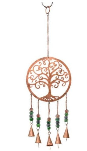 Brass Bell Windchime Large - Copper Metal Tree of LIfe
