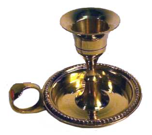 "Brass Chamberstick Candle Holder (For 6"" Taper Candles)"