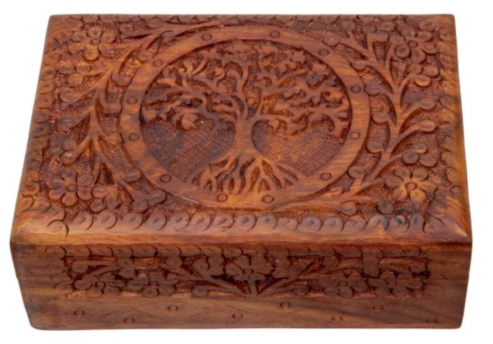 Carved Wood Box Lined - Tree of Life