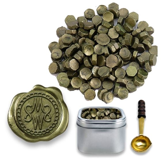 Moss Green Sealing Wax Beads in Tin with Spoon
