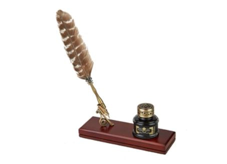 Feather Pen Desk Set with Pen Holder & Inkwell Bundle - Natural Brown Stripe Feather Pen