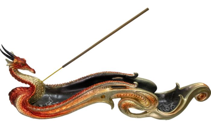 Incense Holder Celtic Dragon Boat-Orange
