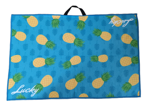 lucky pineapple golf towel made from microfibre waffle material, coolest golf towels