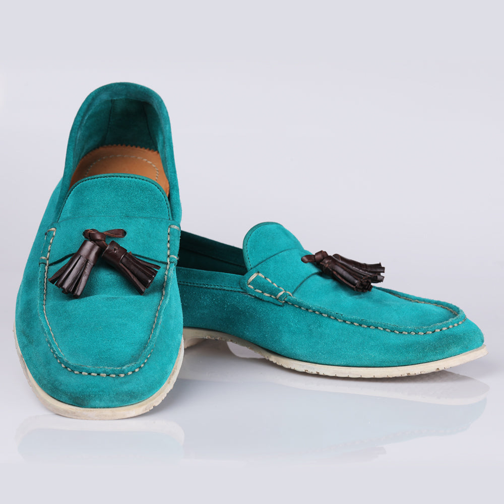 Tom Ford Blue Suede Tassel Loafer Shoes