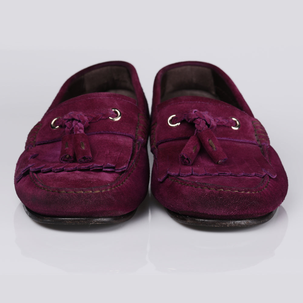Tom Ford Maroon Suede Kiltie Loafer Shoes
