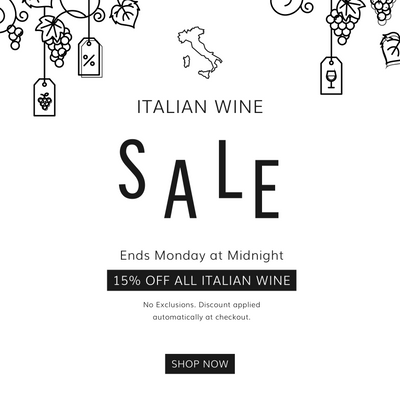 Save 15% on all Italian wine purchases