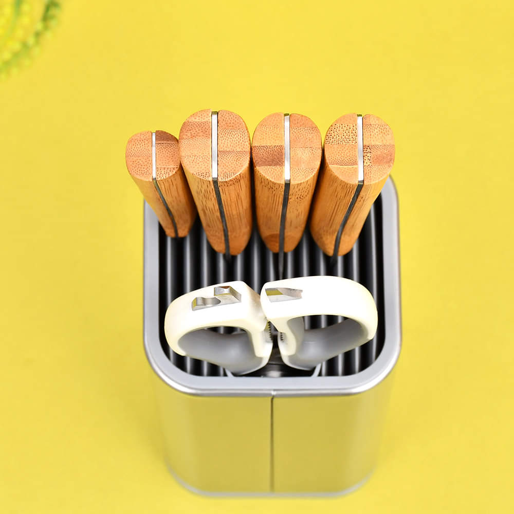 Knife Set With Wooden Handle and Stainless Steel Holder-6 Pieces