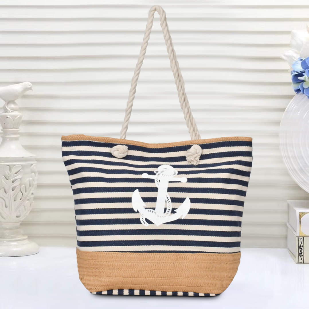 Ladies Shoulder Bag Anchor Design-Dark Blue