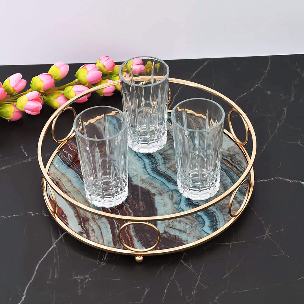 Nordic Multi Color Marble Pattern Round Tempered Glass Tray With Chrome Handles