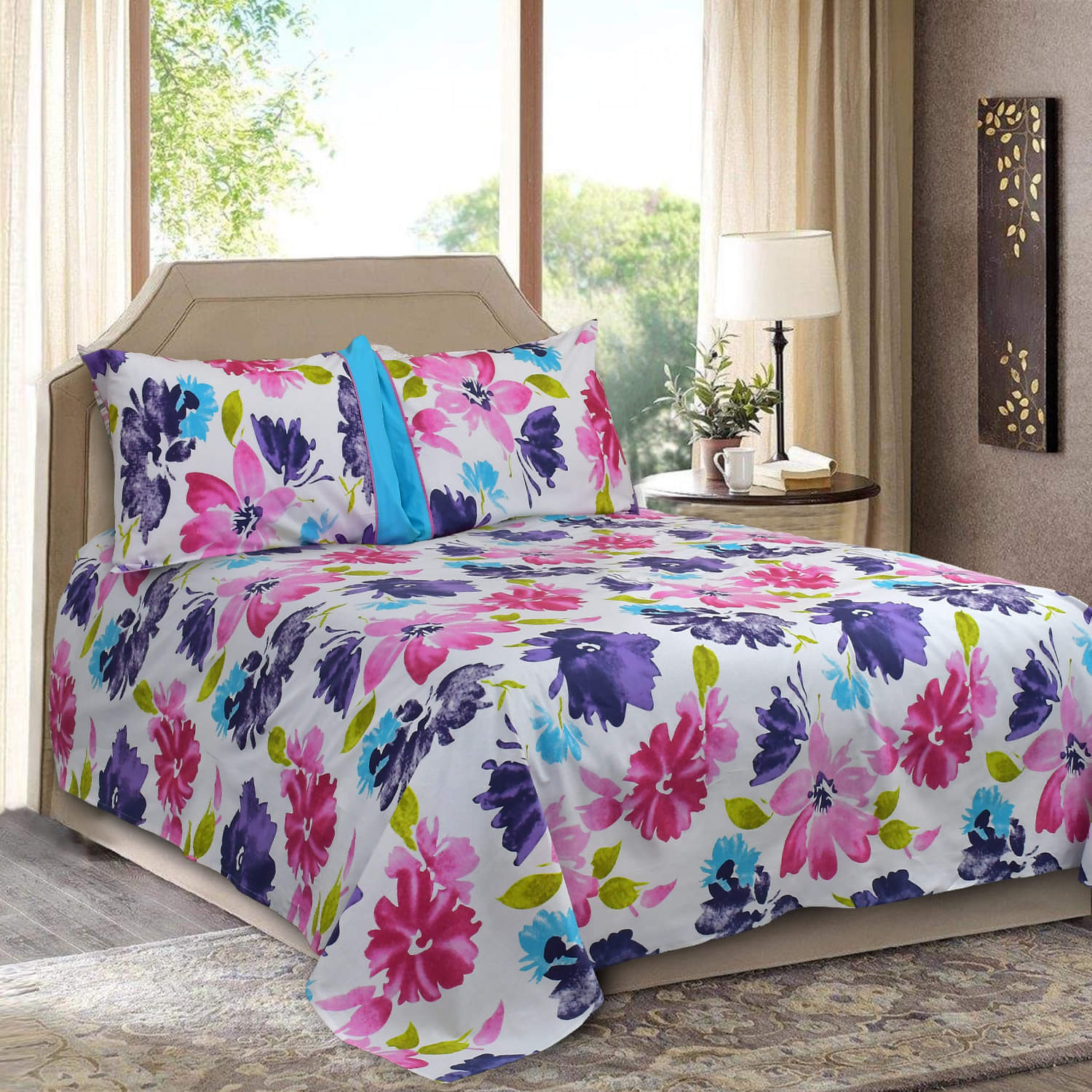 Premium Poly Cotton King Size Bedsheet Set 3 Pcs-MultiFloral Design (Thread Count 180)