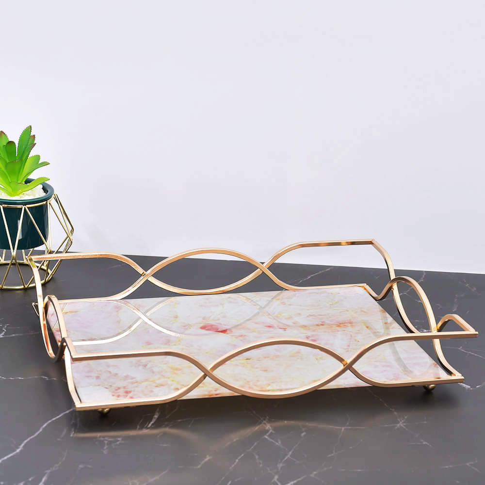 Nordic Flamingo Marble Pattern Tempered Glass Tray With Chrome Handles