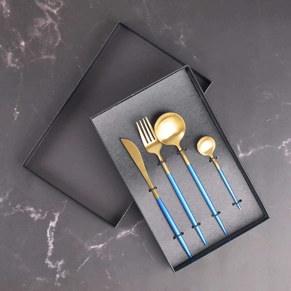 Lavish 4 Pcs Single Serving Stainless Steel Cutlery Set with Blue Handles