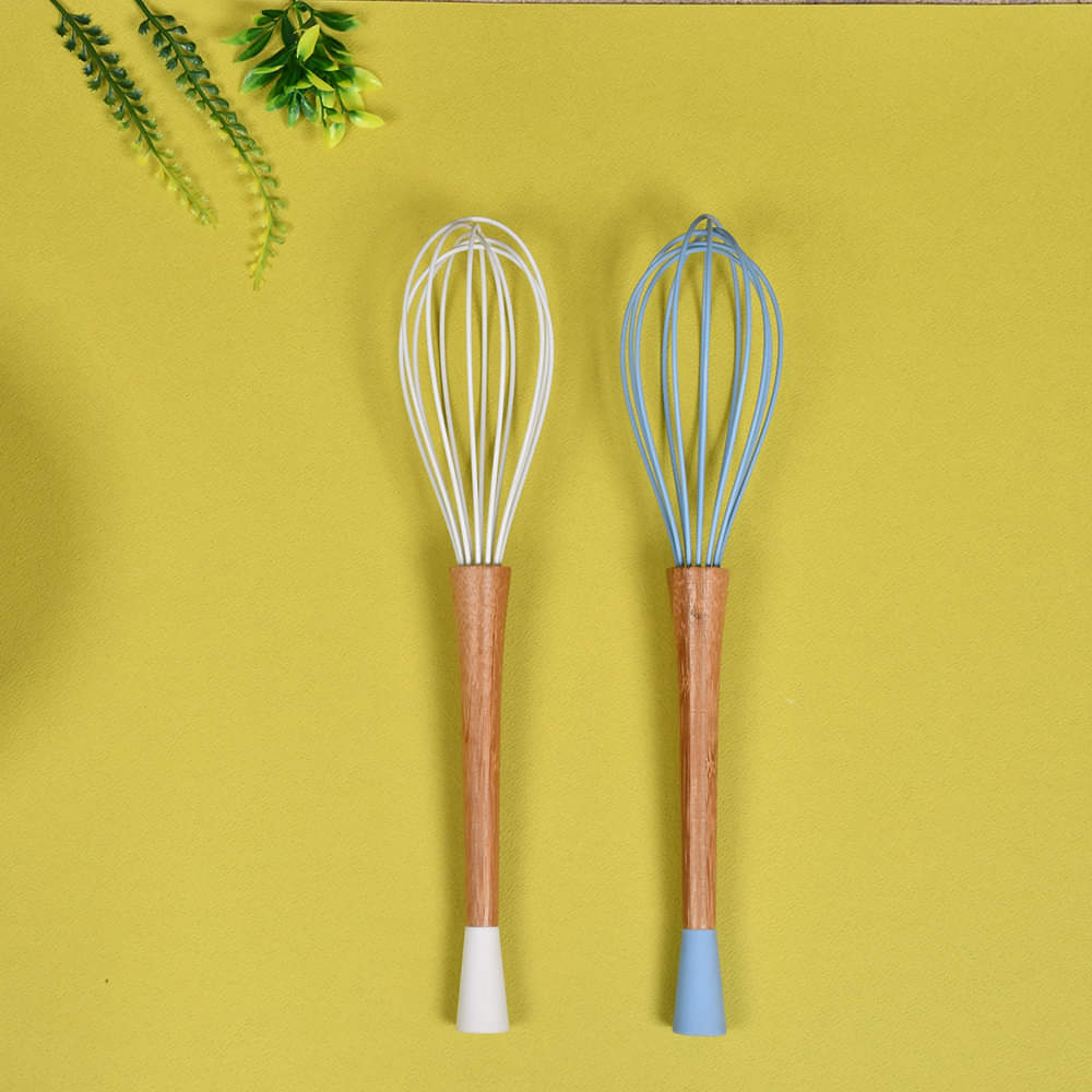 Whisk Egg Beater 10 inches with Wooden Handle, Silicone Top & Plastic Top