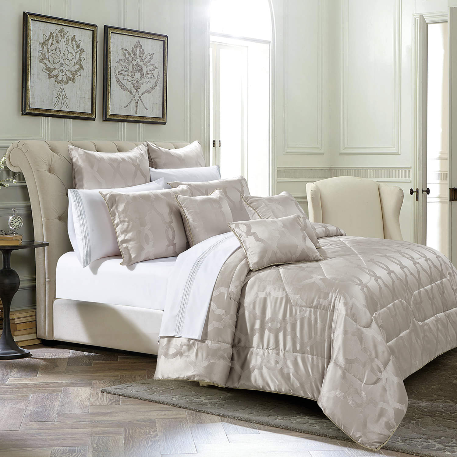Jacquard Fabric Quilted Bedspread Set -1 Bedspread 2 Pillow covers (4327353712749)