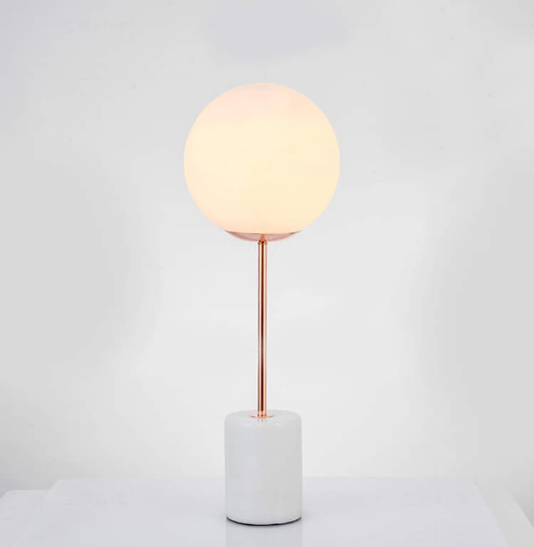 White Glass Globe Table Lamp with Marble Base