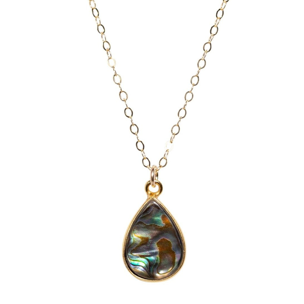 Abalone Teardrop Neckalce - Waffles & Honey Jewelry