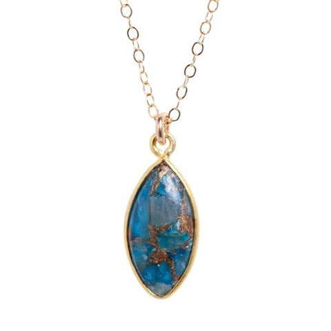 Blue Spiny Turquoise Necklace in Gold