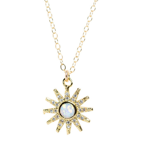 CZ and Opal Star Necklace in Gold