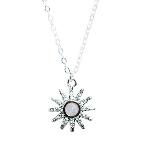CZ and Opal Star Necklace in Silver
