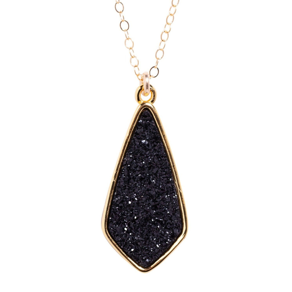 Druzy Kite Necklace in Midnight
